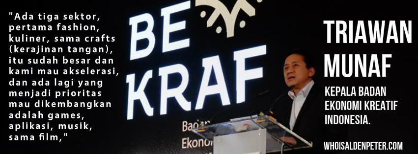 triawan munaf Kepala Badan Ekonomi Kreatif Indonesia